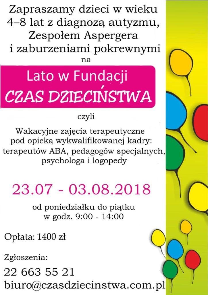 """Plakat zapraszający na warsztaty """"Lato w Fundacji CZAS DZIECIŃSTWA""""."""