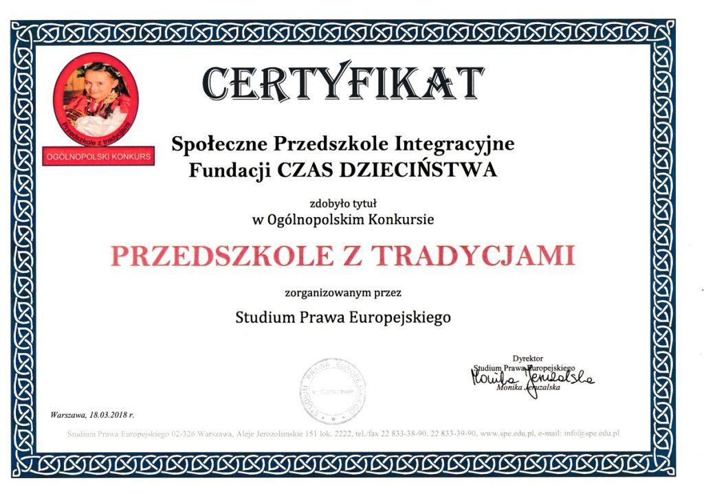 Certyfikat przedszkola z tradycjami