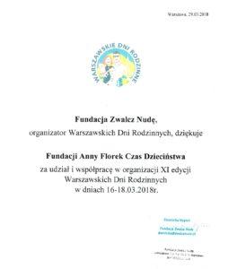 Podziękowania za udział Fundacji w Warszawskich Dniach Rodzinnych